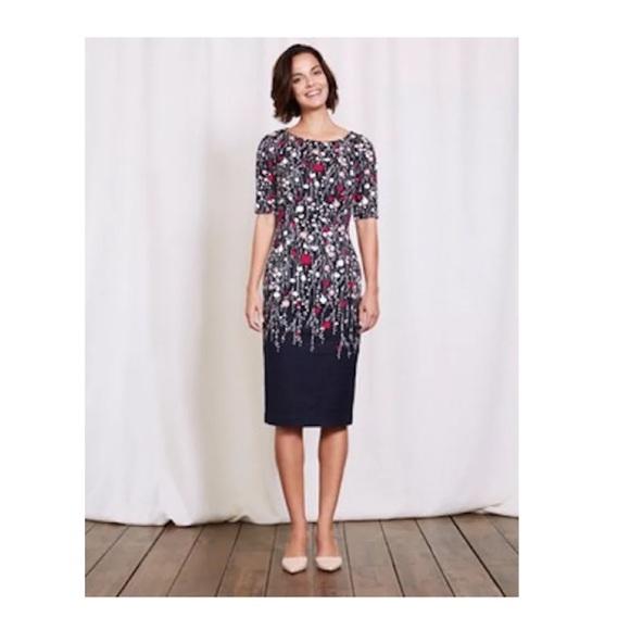 Boden Dresses Fleur Fitted Navy Floral Dress Uk 6p Us 2p Poshmark